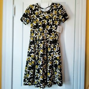 Lularoe Amelia Dress Black Floral Daisy RARE